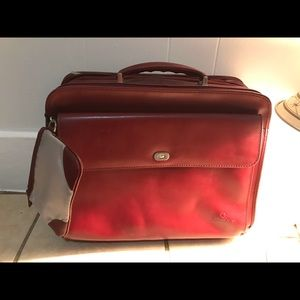 Franklin Covey Red Leather Travel Bag